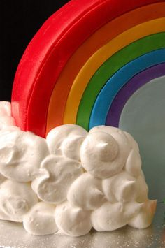 Rainbow fondant rainbow cake with marshmallow clouds!
