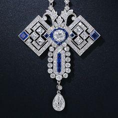 Art Deco Diamond and Sapphire Necklace