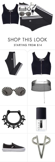 """Heath Goth or whatever"" by wh0s-that-grrrl ❤ liked on Polyvore featuring adidas, Alexander Wang, Yves Saint Laurent, NARS Cosmetics, Vans and The 2 Bandits"