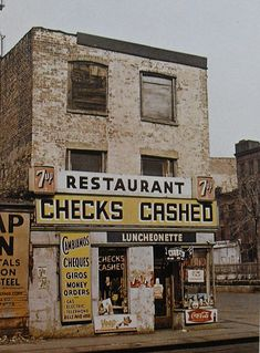 New York City 1960s Checks Cashed 7Up Street Corner Vintage by Christian Montone, via Flickr