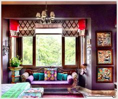 Arradhana Anand's colorfully rich and texturally diverse bedroom. (Blogged on The EAst Coast Desi.)