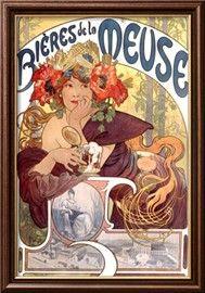Bières de La Meuse Estampe encadrée par Alphonse Mucha sur AllPosters.fr