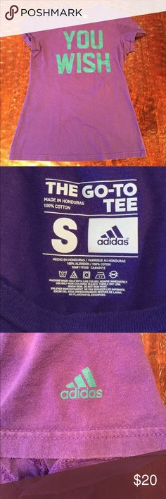 """Adidas The Go-To Tee Small Adidas The Go-To Tee. Tee is 25"""" from shoulder to hem. Bust measures 16 1/2"""" laying flat. Graphic on tee is printed to look worn. Tee is in excellent condition with no signs of wear. Comes from a Smoke Free/Pet Friendly home. Offers always welcome. Adidas Tops Tees - Short Sleeve"""