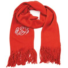 Monogrammed Soft Knit Scarf ~ Red