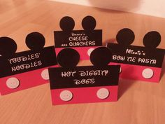 CUSTOMIZED - Food Labels Mickey Mouse Clubhouse Birthday Party - Printable File - Table Tent Food Cards by PartyMyWay on Etsy https://www.etsy.com/listing/197661836/customized-food-labels-mickey-mouse