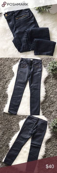 """J. Crew Zippered Skinny Jeans J. Crew zippered skinny jeans. Size 27. Inseam approximately 27"""". Excellent condition. Worn once time only. Dark navy blue color. Material: 98% Cotton, 2% Elasthanne. Mashing wash cold. J. Crew Jeans Skinny"""
