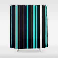 "Stop neglecting bathroom decor - our designer Shower Curtains bring a fresh new feel to an overlooked space. Hookless and extra long, these bathroom curtains feature crisp and colorful prints on the front, with a white reverse side. - One size: 71"" (W) x 74"" (H) - Made in the USA with 100% polyester - 12 buttonhole-top for easy hanging - Machine washable, tumble dry - Rod, curtain liner and hooks not included Black Shower Curtains, Custom Shower Curtains, Bathroom Curtains, Teal, Blue, Hooks, Crisp, Colorful, Space"