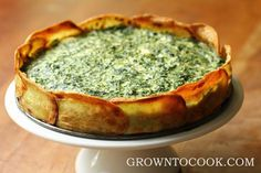 Spinach and herb torta in potato crust. I'm sure the potato crust could be used for various quiche fillings (butternut and caramelised onion, Lorraine, etc)