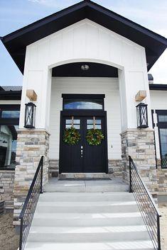 Custom Built Modern Farmhouse Home Tour with Household No 6 - Black and White Exterior