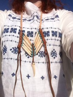 Breastplate necklace - made from bone pipes, soaked in tea, with turquoise beads, fake bear Claes and leather details
