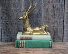 Vintage Brass Animal / Rare Large Brass Elk / Hollywood Regency Decor / Vintage Mid Century / Brass Decor / Christmas Caribou on Etsy, $68.00