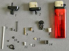 The demolition of a disposable lighter,   provide you with a shopping cart full of miniature building materials.