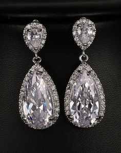 Strongly NoEnName_Null Fashion Luxury Bride Wedding Earrings AAA Cubic Zirconia Platinum Colors For Engagement Jewelery Party Gifts +The Offer Was Very Cheap Bride Earrings, Wedding Earrings, Drop Earrings, Jewelry Party, Bridal Jewelry, Engagement Jewelry, Diamond Are A Girls Best Friend, Bridesmaid Jewelry, Stones And Crystals