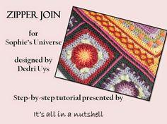zipper join crochet granny squares