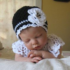 Black and White Hat with Irish Rose in Cotton by MaisondeTerre, $24.00 A VERY CUTE DOLL