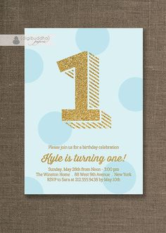 Blue and Gold Birthday Invitation Gold glitter and tonal blue polka dots for a baby boy first birthday party by digibuddhaPaperie, $20.00