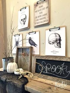 Clip up spooky etchings in the foyer to make it.less welcoming. 13 Minimalist Halloween Decorations That Are Actually Classy Living Room Halloween Decor, Halloween Bedroom, Halloween Wall Decor, Halloween Mantel, Diy Living Room Decor, Diy Halloween Decorations, Halloween Diy, Home Decor, Outdoor Halloween