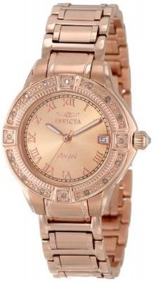 Relógio Invicta Women's 14803 Angel Rose Gold Tone Dial Diamond Accented 18k Ion-Plated Stainless Steel Watch #Relogio #Invicta