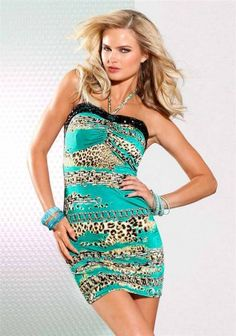 Neckholder dress with stones, turquoise-colourful