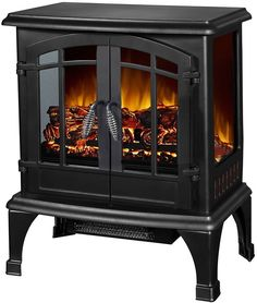 Freestanding Electric Fireplace Indoor Heater Stove Metal Glass Black Finish New #ArgoFurniture #Fireplace #Heater #IndoorHeater #ElectricFireplace