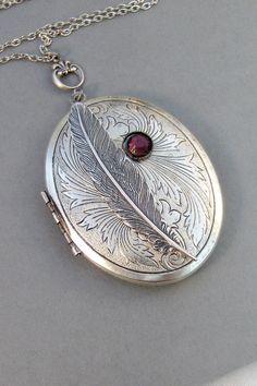 Inner Spirit,Locket,Silver,Feather,Birthstone,Silver Locket,Necklace,Antique Locket,Feather,Feather Locket,Angel Locket. valleygirldesigns. on Etsy, $37.00