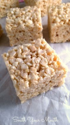 Best EVER Rice Krispie Treats… These aren't your plain-jane, back-of-the-box-recipe crispy rice treats. These are rich and luxurious and vanilla-y because they have extra butter, double the marshmallows and vanilla!   I always use extra butter, never thought of vanilla