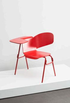 Klaus Vogt; Painted Tubular Metal and Molded Plywood 'Dragonfly' Prototype Writing Chair, 1969.