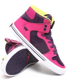 Supra   Vaider Pink Leather/Purple Nylon Sneakers. Get it at DrJays.com