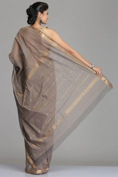 SUBTLE GREY KANCHI COTTON SAREE WITH SELF-STRIPED PATTERN  GOLD ZARI BORDER WITH PAISLEY MOTIFS
