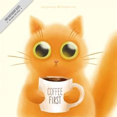 Hand-painted cute kitten with a cup of coffee Free Vector