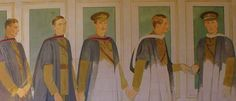 Scholars into Soldiers (2), unfinished painting, Taplow Court, showing the children of the Souls, including Julian and Billy Grenfell, sons of Lord and Lady Desborough of Taplow Court, who were killed within a few weeks of each other in 1915. Among the others shown in the two paintings are Raymond Asquith, Edward Horner, Patrick Shaw Stuart, and Rupert Brooke. Rupert Brooke, Soldiers, Sons, Two By Two, War, Paintings, History, Children, People
