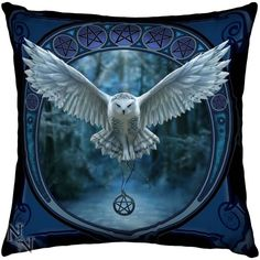 Anne Stokes Awaken Your Magic Snowy Owl Cushion Large Gothic Cushion Owl Cushion, Anne Stokes, Angel Outfit, Owl Family, Snowy Owl, Black Feathers, Boot Shop, Home Decor Inspiration, Pet Birds