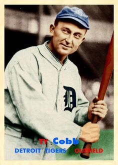 Ty Cobb the greatest all around baseball player to ever play the game.Babe Ruth was the Greatest Ever. Best Baseball Player, Baseball Star, Baseball Boys, Baseball Couples, Baseball Nails, Detroit Sports, Detroit Tigers Baseball, Sports Teams, Bat Design