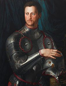 Cosimo I de' Medici in armour Artist: Agnolo Bronzino Subject: Cosimo I de'Medici Period Renaissance Painted: 1545 Dimensions: 74 cm × 58 cm (29 in × 23 in)  Cosimo Medicci hired Bronzino to paint him. The painting shows him as dominant and proud-temperament of the Grand Duke.