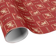 Chinese Year of the Dog Gift Wrapping Paper. Matching cards, postage stamps, traditional Chinese red envelopes and other products available in the Chinese New Year / Year of the Dog Category of the Mairin Studio store at zazzle.com