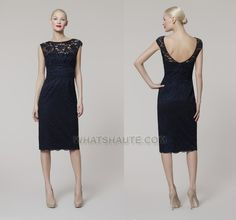 navy lace dress | An alluring navy lace dress with a scoop back. Sheer bodice detail and ...