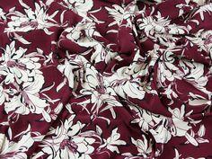£8.99/m. Floral Print Viscose Challis Dress Fabric  Wine   Fabric   Dress Fabrics   Minerva Crafts