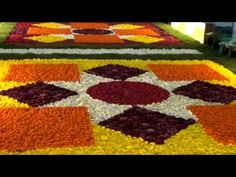 Our first ever flower carpet created and displayed on Feb at the Community Centre of DLF City Phase I, Gurgaon, India. Diwali Decorations, Flower Decorations, Flower Rangoli, Carpet Design, Rangoli Designs, Mornings, Wedding Designs, Display, Make It Yourself