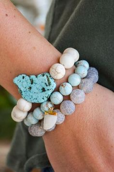 Set of 3 Beaded bracelets with turquoise beads and horn charm//