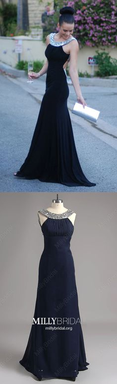 Dark Navy Prom Dresses,Long Prom Dresses For Teens,Modest Prom Dresses Mermaid,Sexy Prom Dresses Backless,Simple Prom Dresses Jersey with Crystal Detailing