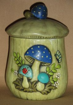 Mushroom Canister 1970's Housewares Home Decor by afaeriesfortune, $8.00