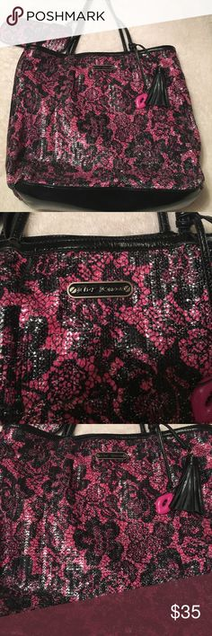 """Betsy Johnson large Bag Super cute Betsy Johnson Pink & Black sequences Bag. Wristlet includes. Measures- approximately 14 1/2"""" long and 17"""" wide. Wristlet 8 1/2"""" width and 4"""" tall had minimum wear on bottom as shown overall great condition. No tips or tears, stains. Great buy!! Betsey Johnson Bags Totes"""