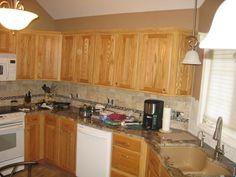 Kitchen Backsplash Oak Cabinets brick bone light gray ceramic back splash decor with varnished