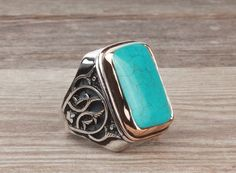 925 K Sterling Silver Gemstone Man Ring With Natural Turquoise Stone (All Sizes) #istanbulJewelry #Statement