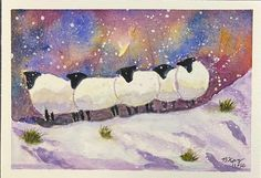 "FAITHfull heART: ""Sheep in Snow"" (and in My Heart) {Watercolor} The Good Shepherd, Lion Of Judah, Winter Scenes, Winter Season, Flocking, Painting Inspiration, Sheep, My Heart, Watercolor Paintings"