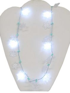 Christmas Necklaces | Necklace- Unisex light up clear Christmas snowflake string necklace ...