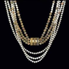 """Triple Strand Necklace""       Gold beads, Pearls, Diamonds""  Vicki Eisenfeld"