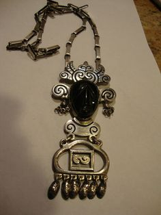 Vintage Mexican Silver 925 Repousse Necklace Pin with Black Onyx   eBay