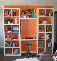 Styled shelves1 copy Bookshelves In Living Room, Bookshelf Desk, Ikea Kallax Desk, Bedroom Turned Closet, Diy Bedroom Decor, Diy Home Decor, Ikea Book, Home Office Furniture Design, Shelf Design