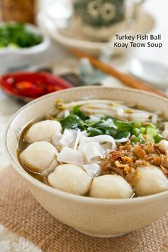Not sure what to do with leftover Thanksgiving turkey? Make this tasty Turkey Fish Ball Koay Teow Soup based on the popular Malaysian rice noodle soup. Rice Noodle Soups, Rice Noodles, Thai Dishes, Fish Dishes, Unique Recipes, Asian Recipes, Ethnic Recipes, Malaysian Food, Malaysian Recipes